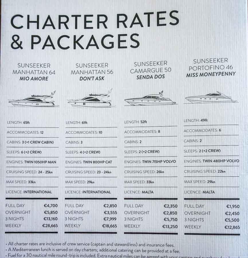 malta boat charter rates