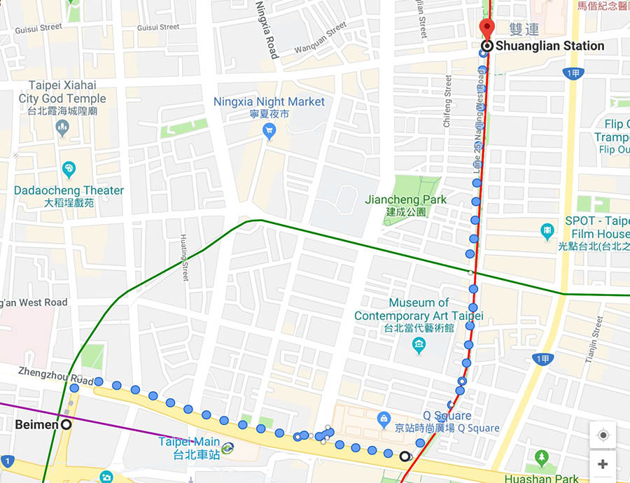 Google Maps Beimen station to Shuanglian