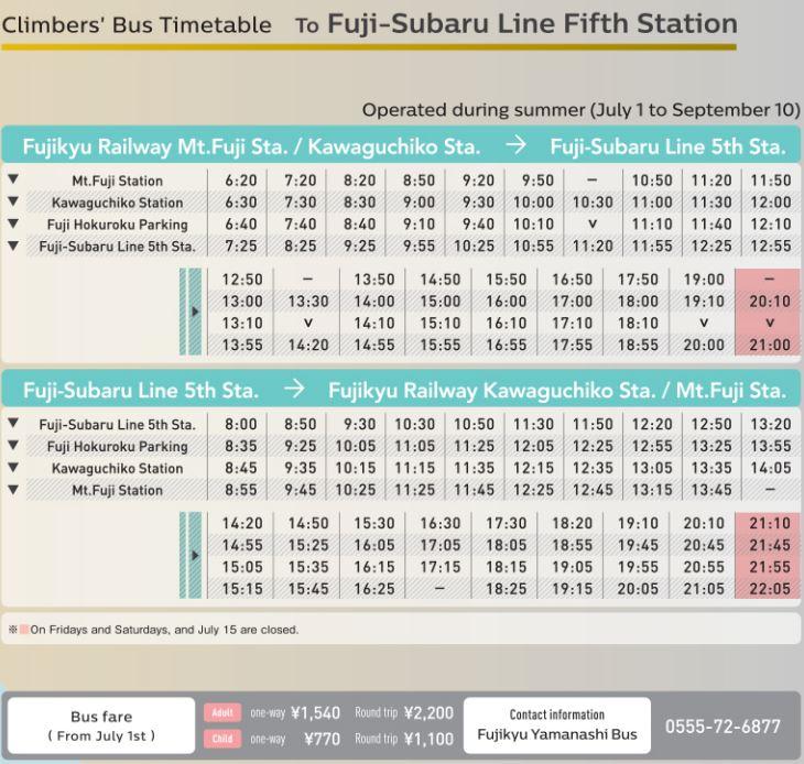 yoshida trail timetable