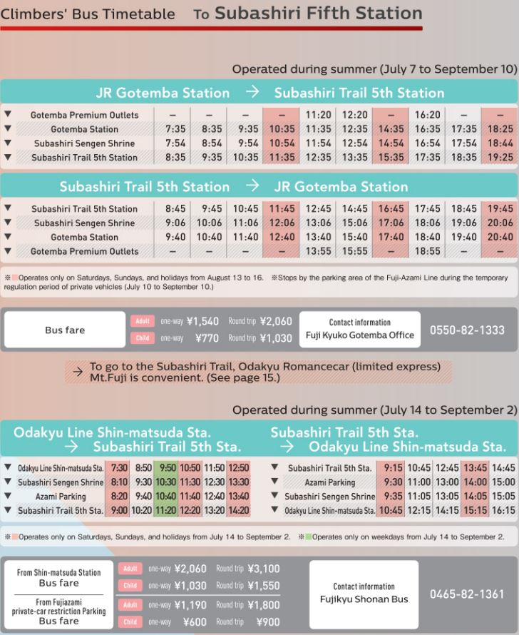subashiri trail 5th station bus schedule