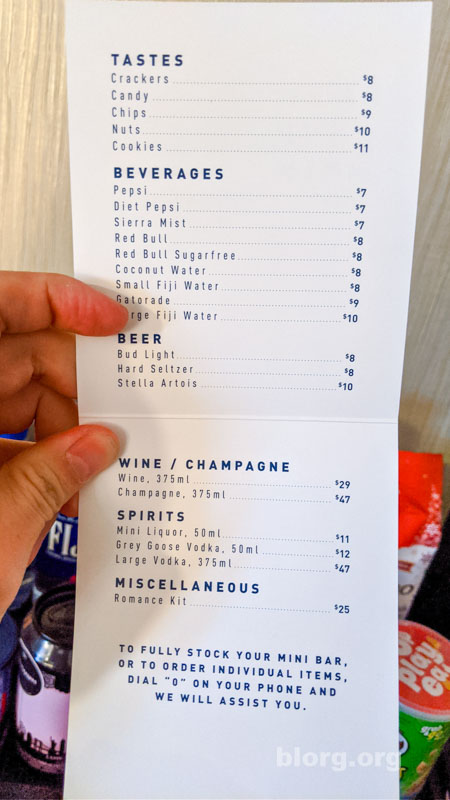 Las Vegas Cosmo mini bar prices
